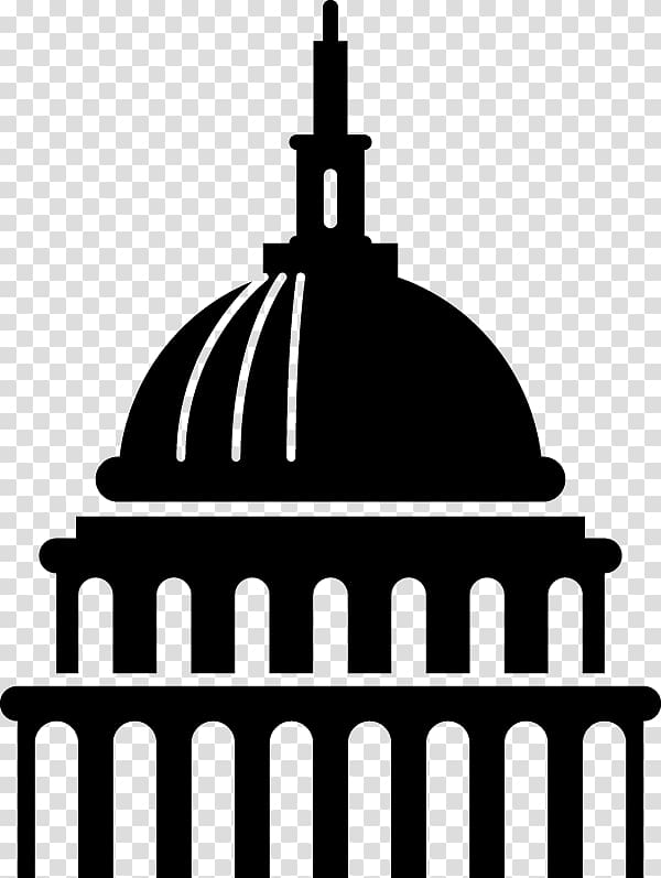Black building illustration, United States Capitol dome.