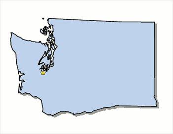 Washington State Map Clipart.