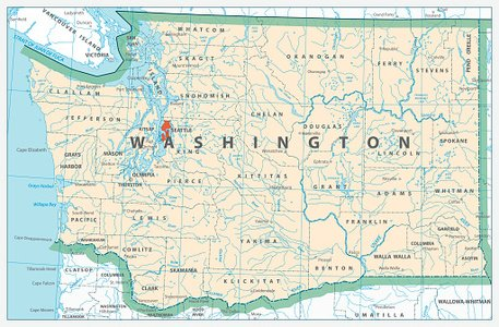 Washington State Detailed Map premium clipart.