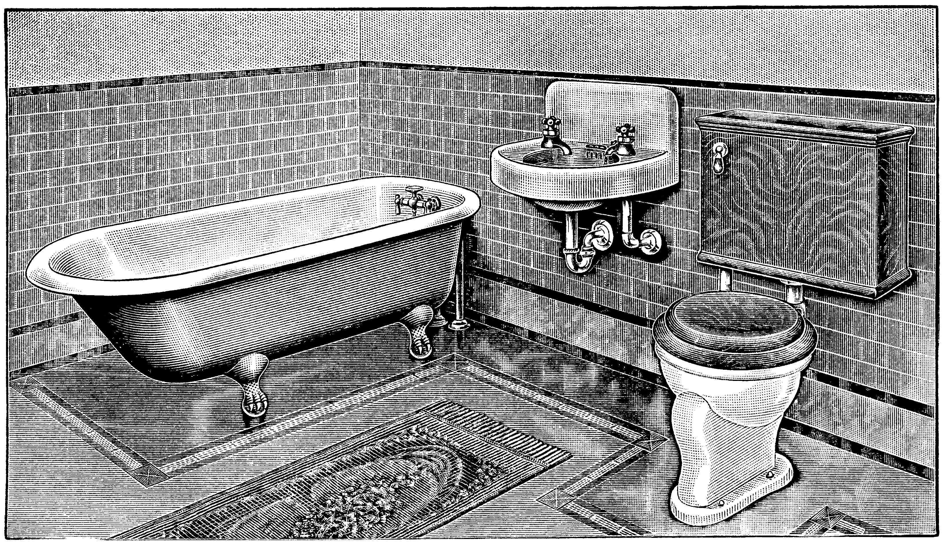vintage bathroom, bathroom clip art, claw foot tub illus.