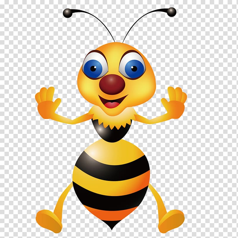 Bee Hornet Wasp , Cute bee transparent background PNG.