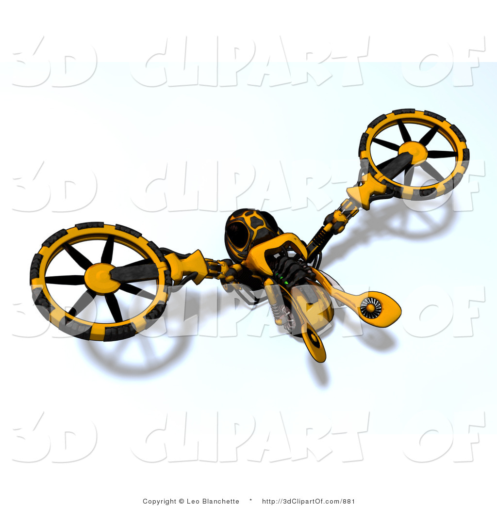 3d Clip Art of a Wasp like Yellow and Black Vehicle by Leo.