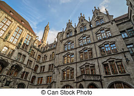 Stock Photography of Town hall of Wasserburg am Inn, Bavaria.