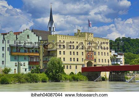 Stock Photo of Brucktor Gate and Red Bridge, Wasserburg am Inn.