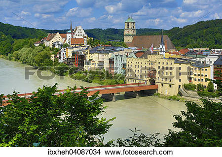 Stock Photo of View of the town with Brucktor Gate and Red Bridge.