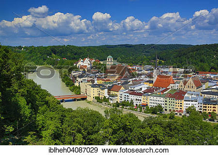Stock Photograph of View of the town of Wasserburg am Inn, Upper.