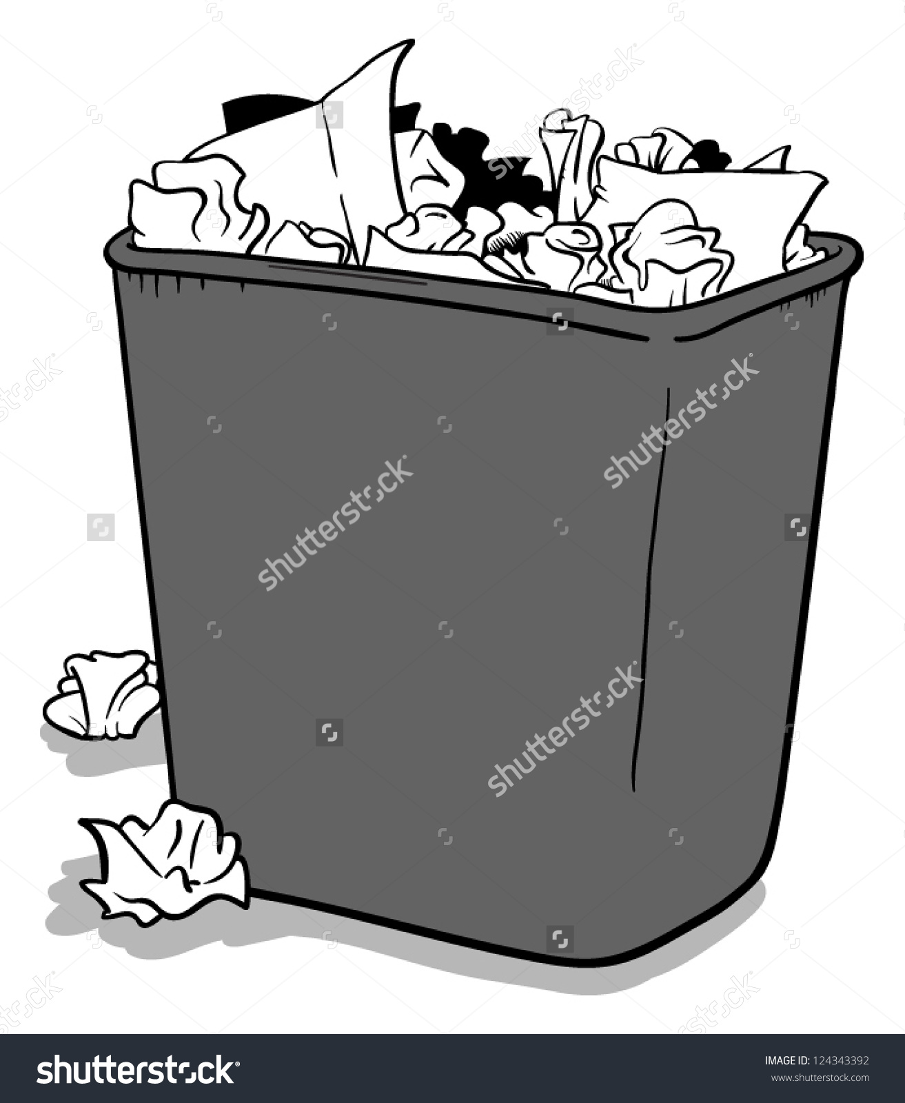 Waste Basket Stock Vector 124343392.