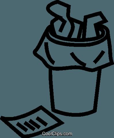 waste paper basket Royalty Free Vector Clip Art illustration.