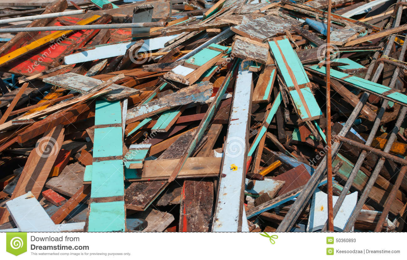 Waste Wood Pile. Stock Photo.