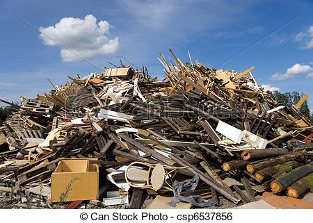 Stock Image of garbage heap, mostly wood csp6537856.