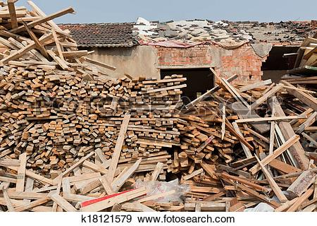 Stock Photograph of Waste wood pile k18121579.