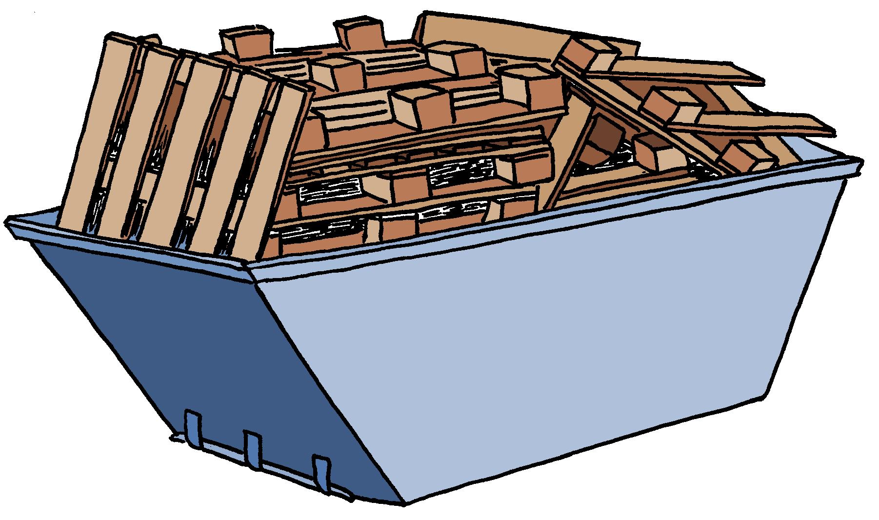 Reducing waste wood skip charges.