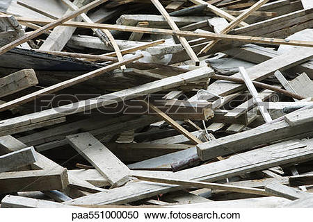Stock Photography of Pile of waste wood paa551000050.