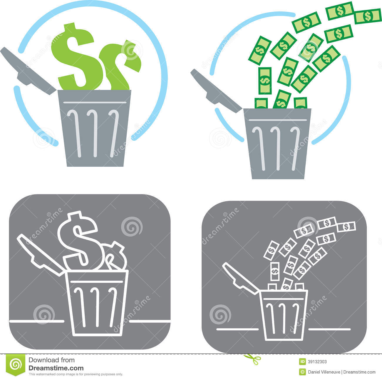 Wasting Money Icon Stock Vector.