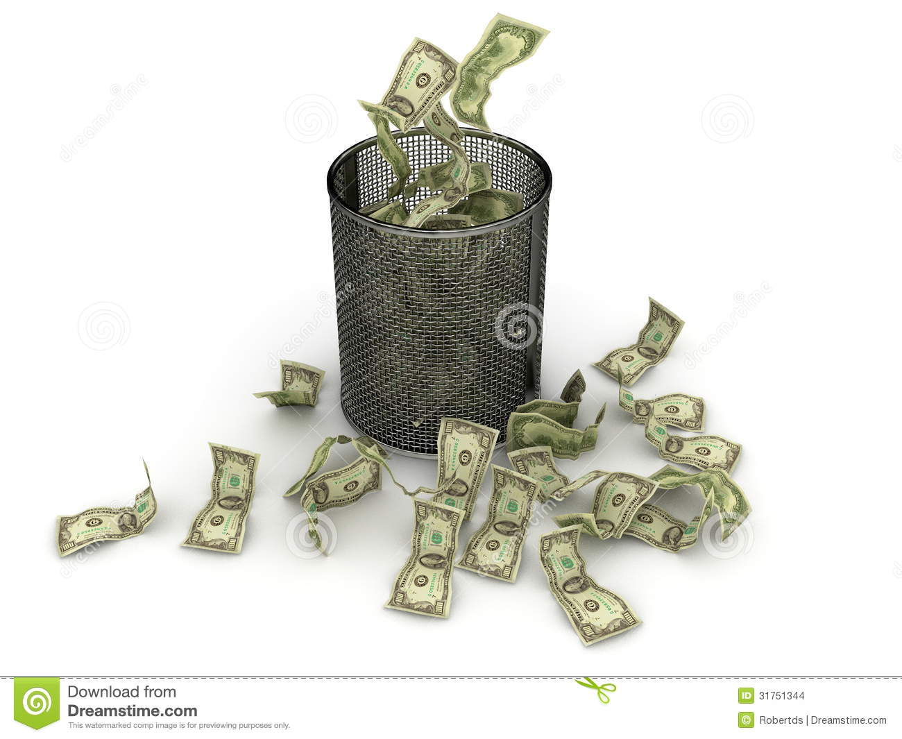 Wasted Money Stock Images.