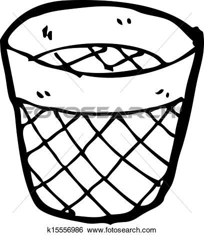 Drawing of cartoon waste paper basket k15556983.