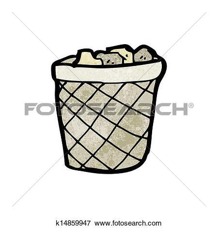Clip Art of cartoon waste paper basket k14859947.