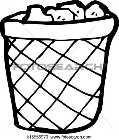 Clipart of cartoon waste paper basket k15556970.