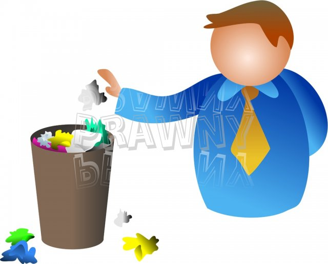 Man Putting Litter in the Waste Paper Bin Clip Art Illustration.