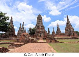 Stock Image of Wat Chai Watthanaram temple in ayutthaya Thailand.