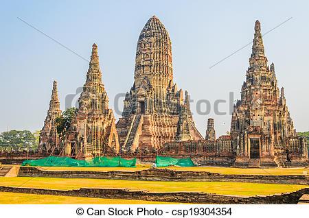 Stock Images of Wat Chai Watthanaram temple in ayutthaya Thailand.