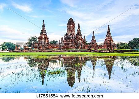 Stock Photo of Temple wat Chaiwatthanaram of Ayuthaya Province.