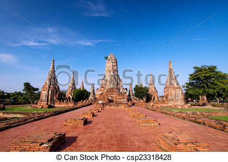 Clip Art of The ancient wat Chaiwatthanaram at morning moment in.