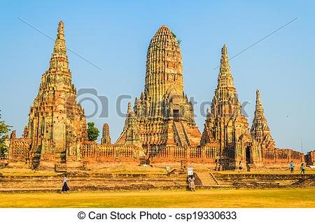 Stock Photos of Wat Chai Watthanaram temple in ayutthaya Thailand.