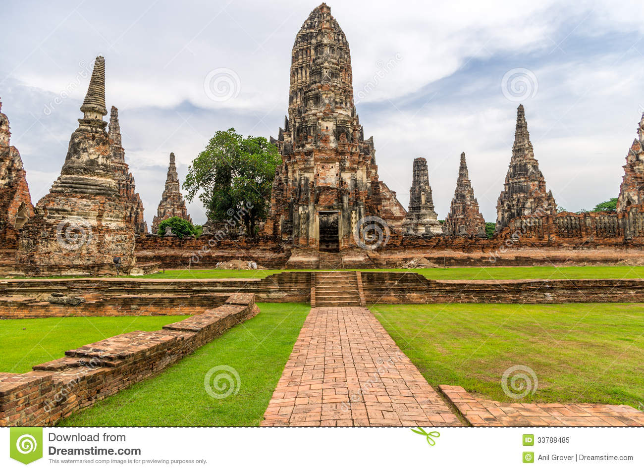Wat Chaiwatthanaram In The City Of Ayutthaya, Thailand. It Is On.