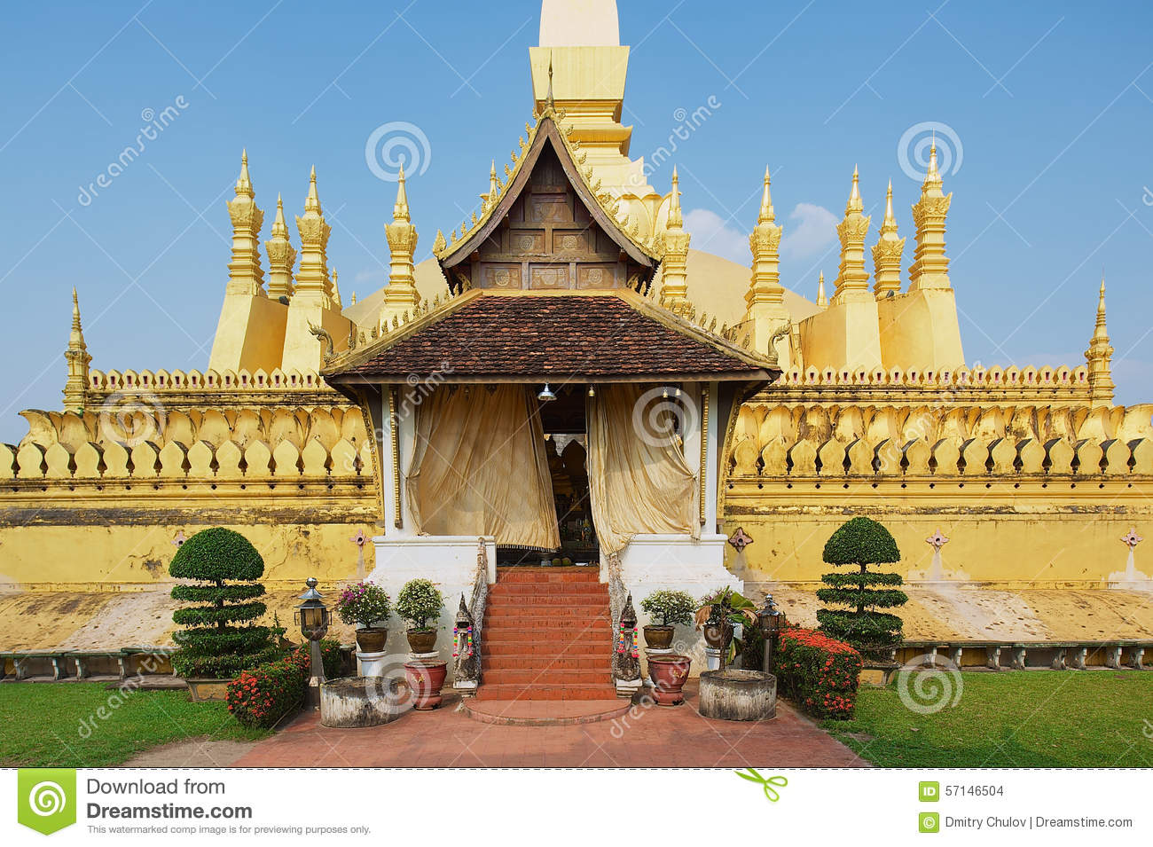 Exterior Of The Pha That Luang Stupa In Vientiane, Laos. Stock.