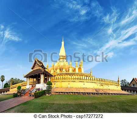 Picture of Laos travel landmark, golden pagoda wat Phra That Luang.