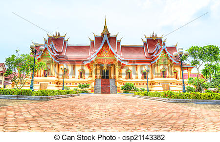 Pictures of Hor Dhammasabha in Wat Phra That Luang Vientiane.