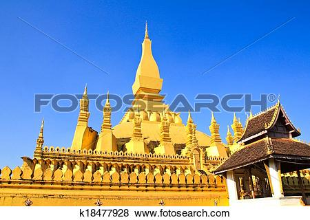 Pictures of Golden pagada in Wat Pha That Luang, Vientiane, Laos.