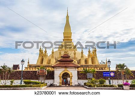Stock Photography of golden pagoda wat Phra That Luang in.