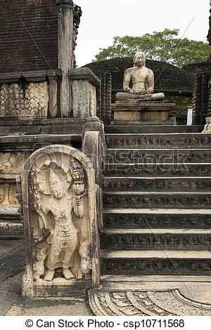 Stock Image of Meditating Buddha statue at Polonnaruwa.