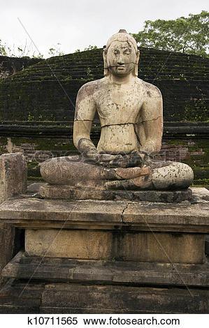 Stock Image of Meditating Buddha statue at Polonnaruwa k10711565.