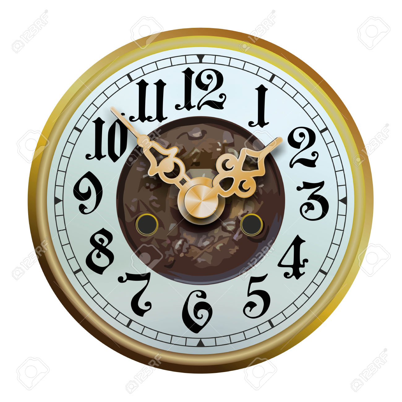 Old, Historic Watch Face With Embellished Watch Hands Stock Photo.