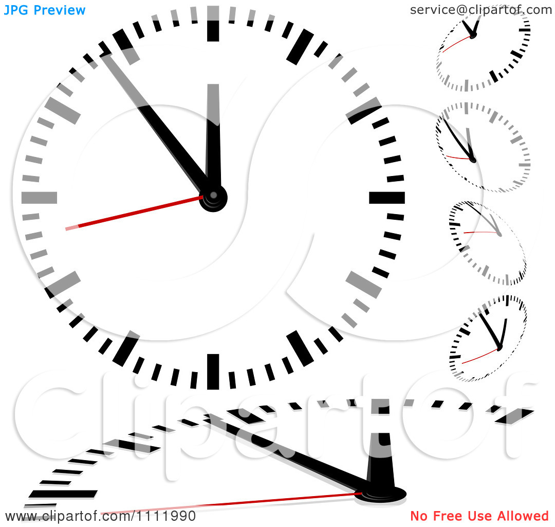 Clipart Black And White Wall Clocks With Red Second Hands.