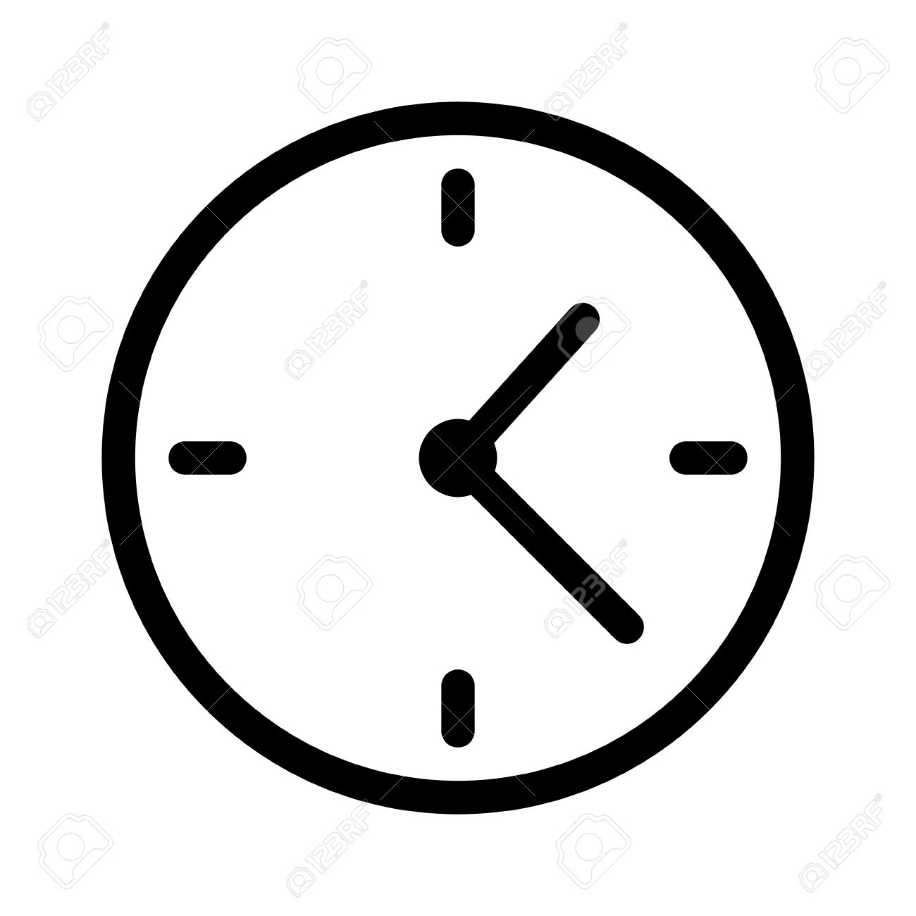 Simple Clock Face, Clockface Or Watch Face With Hands Line Art.