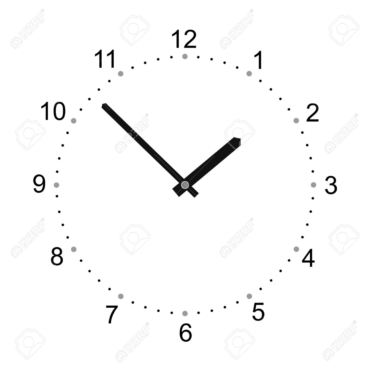 Simplified Watch With Big Numerals And Watch Hands Royalty Free.