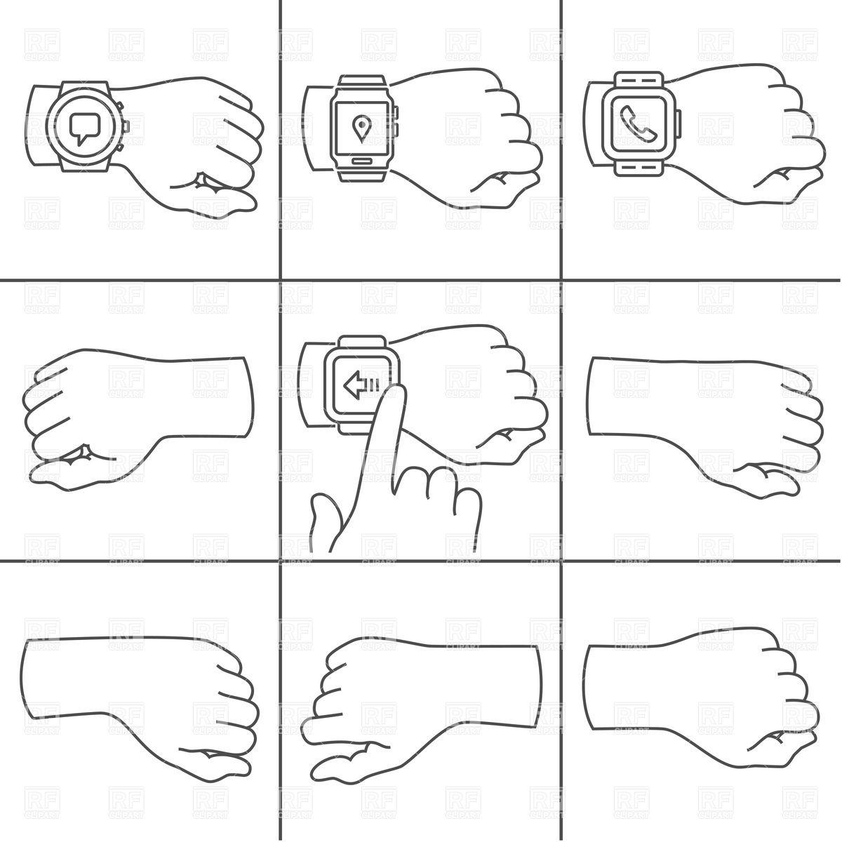 Sketched hands with smartwatch Vector Image #36146.