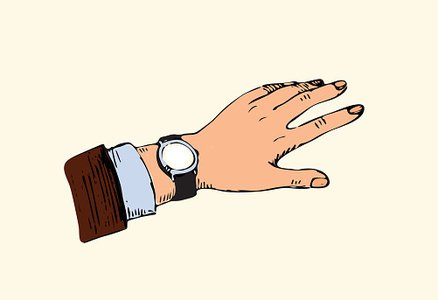 The hand of men, looking at watch, time for lunch Clipart.
