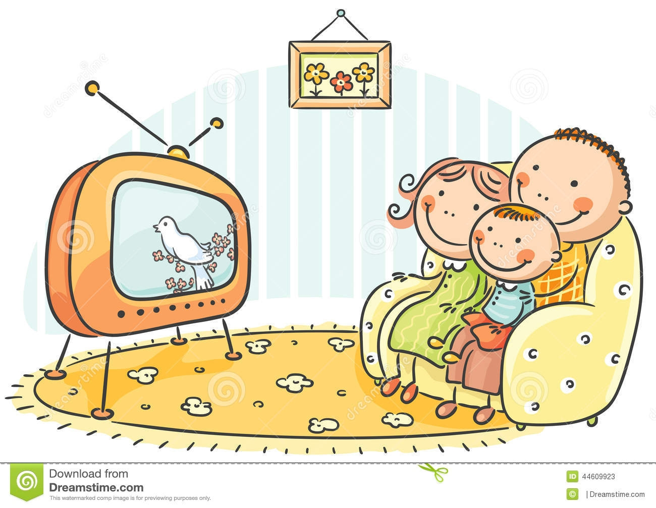 Family Watching Tv Clipart Black Background.