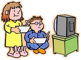 Kids watch tv clipart.