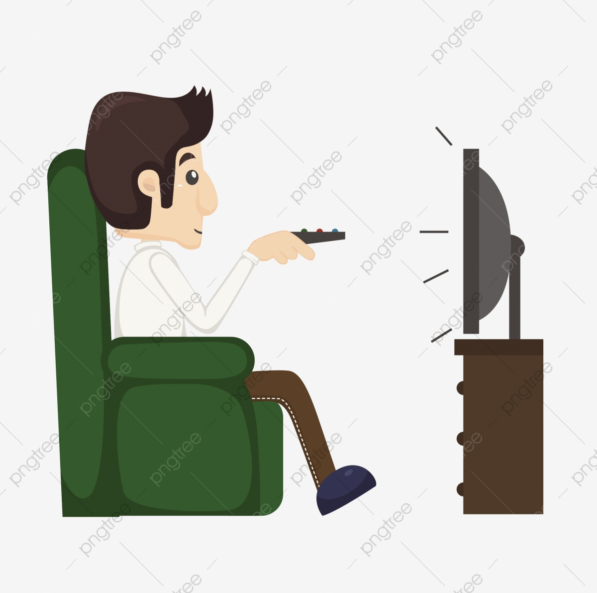 Fat Men Watch Tv, Tv Clipart, Family Watching Tv, Cartoon.