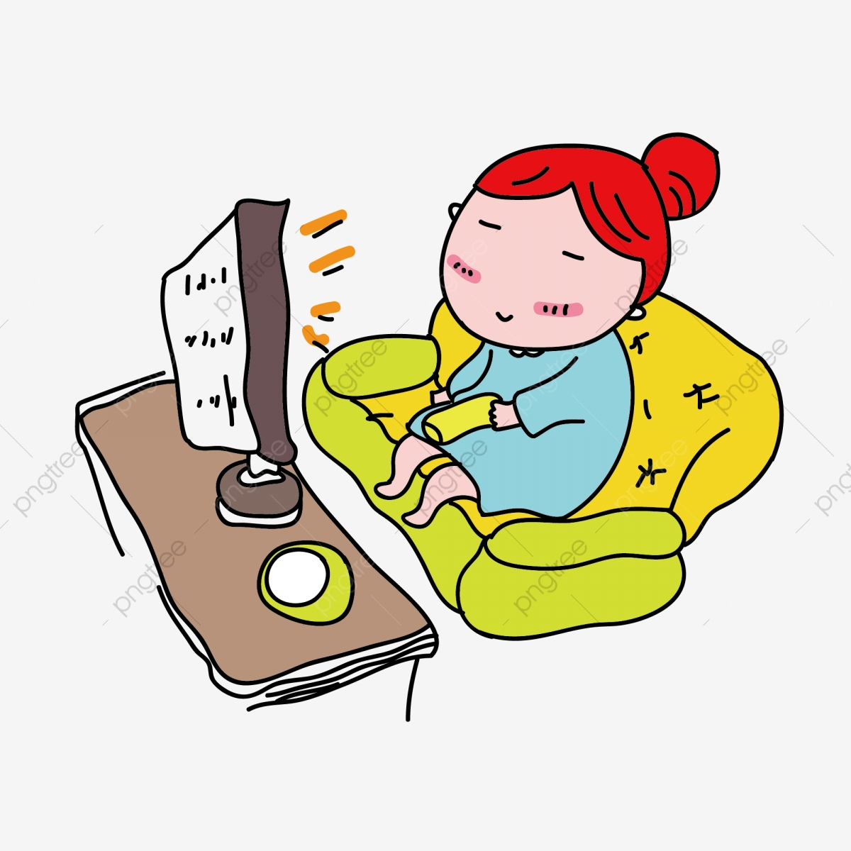 Cartoon Girl Watching Tv Is A Commercial Element, Watch Tv.
