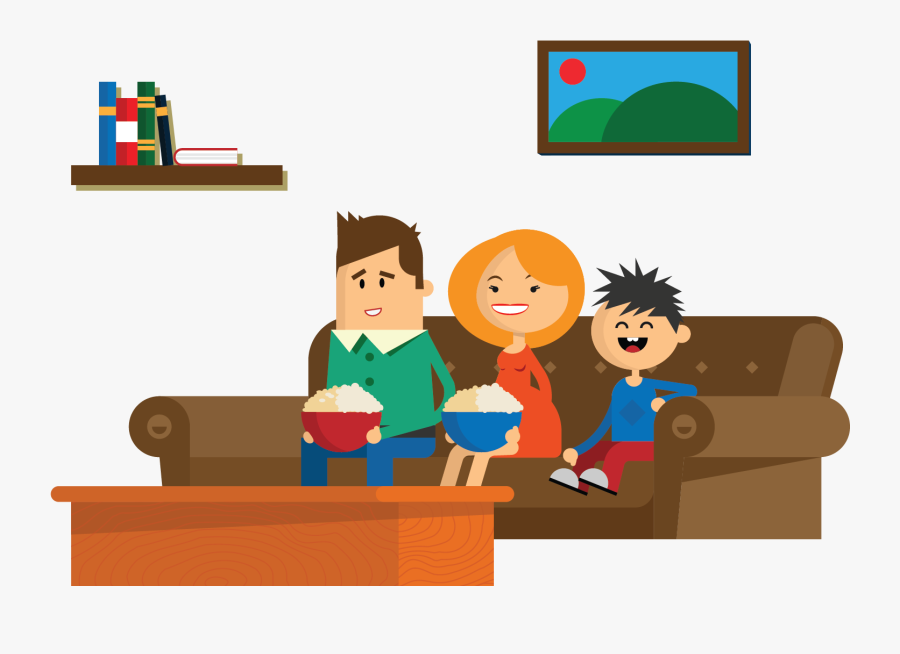 Family Watch Tv Vector , Free Transparent Clipart.