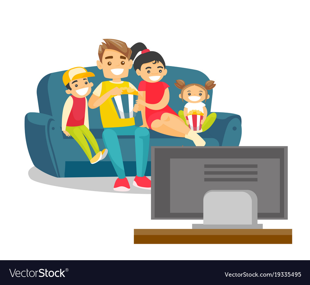 Caucasian white family watching television at home.