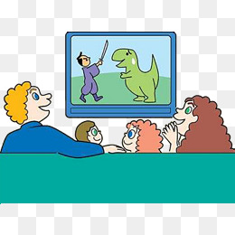 Family Watching Tv Clipart.