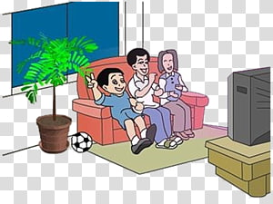 Family Watching Tv transparent background PNG cliparts free.